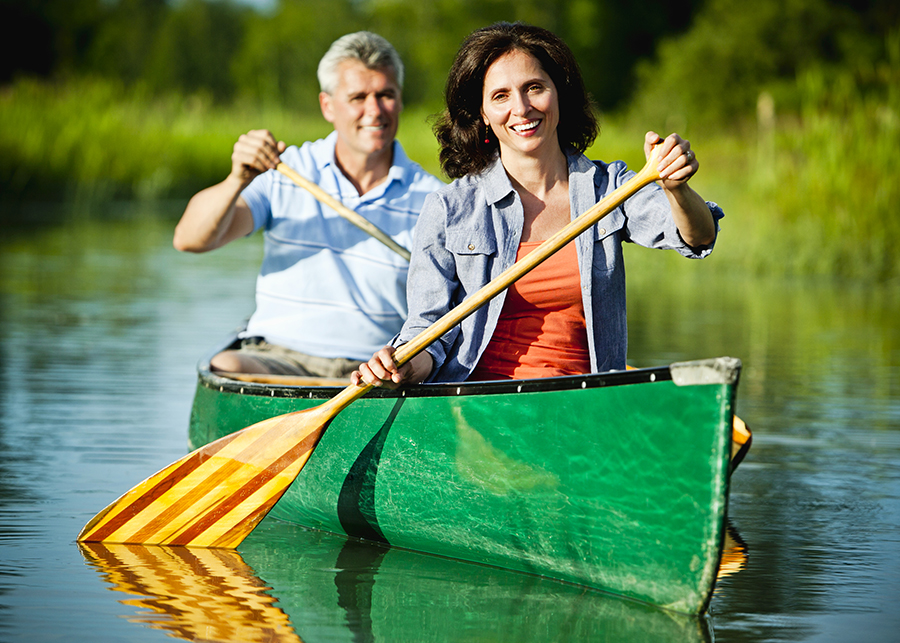 Mature Couple in a Canoe